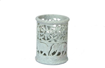 D,Kraft ,N, Kulture Fine Carving of Flowers & Elephant 1 Compartments Stone Penstand