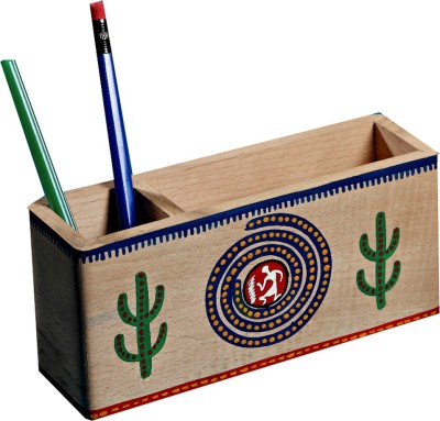 Aapno Rajasthan 2 Compartments Wooden Pen Stand