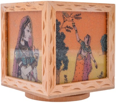 Rajkruti Handicraft 3 Compartments Wood Pen Stand