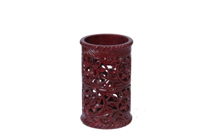 D,Kraft ,N, Kulture Carving In Red Color 1 Compartments Stone Pen Stand