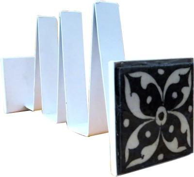 Aurea 4 Compartments Wrought iron, Blue pottery Books-rack