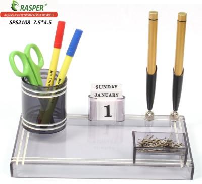 Rasper 3 Compartments Small Acrylic Pen Holder Office Pen Stand