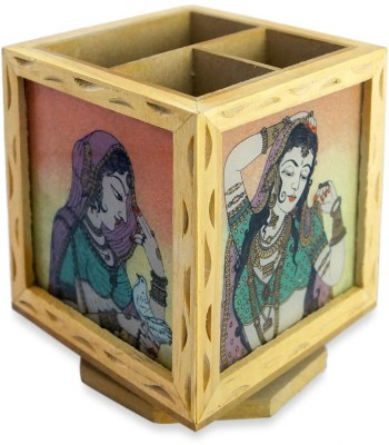 R S Jewels Holder 3 Compartments Wooden, Gemstone Pen Stand