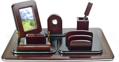 Crea Pen Holder, Card , Clock, Photo Frame 5 Compartments Metal Desk Set
