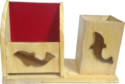 Shubham Exports Pen Stand 2 Compartments Wooden Pen Stand