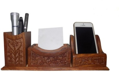 Onlineshoppee CAC 4 Compartments Wood Pen Stand
