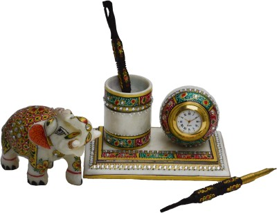 eCraftIndia Combo - With Clock and Saluting Elephant 1 Compartments Makrana Marble Pen Stand