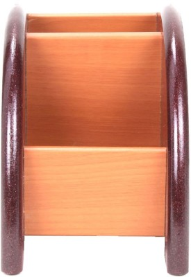 iGadgets 2 Compartments Wooden Pen Stand