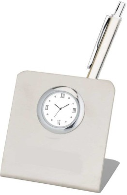 Excelencia Modern Office 1 Compartments Metal Steel Table Clock with a Pen Stand and a Pen