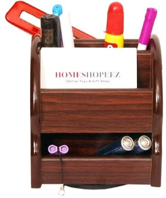 Homeshopeez Pens 3 Compartments Wooden Multipurpose Stand(Brown)