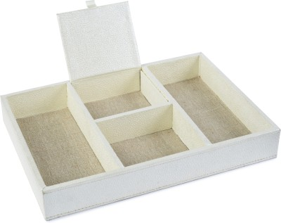 Ecoleatherette Regular 4 Compartments Paper Office Tray(Pearl)