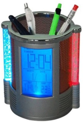 Gadget Bucket 1 Compartments Plastic pen holder with clock