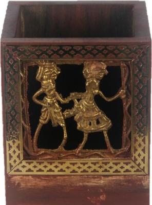 JaipurCrafts Dokra 1 Compartments Wood, Brass Pen Holder