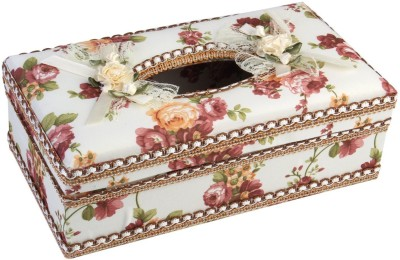 7Trees 1 Compartments Hi Quality Plastic with Floral Decorative Cloth Covered Tissue Holder Box