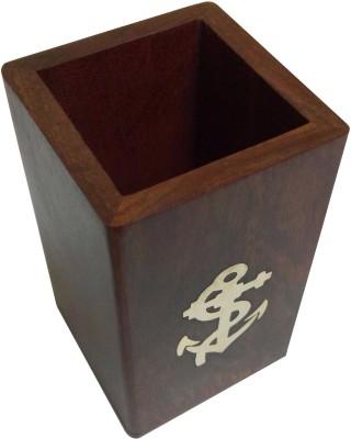 Kartique 1 Compartments Wood Pen Stand