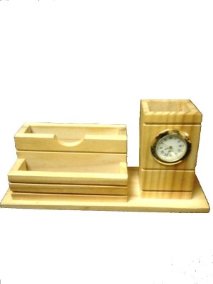 Gaura Art & Crafts 3 Compartments Wooden Wooden Watch Pen With Card Holder