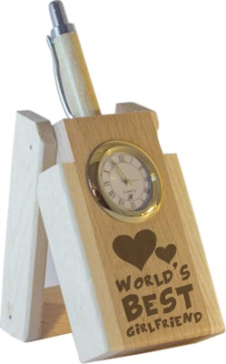 Tiedribbons World Best Girlfriend Table Top 1 Compartments Wooden Pen Stand