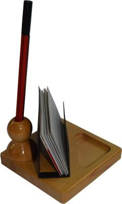 Knott BLU/PH-739 3 Compartments Wood Pen/card/clip Holder