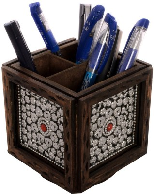 eCraftIndia ESR009-Stationary 4 Compartments Wooden Pen Stand