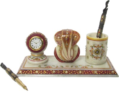 eCraftIndia Lord Ganesha with Clock 1 Compartments Makrana Marble Pen Stand