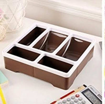 Km 5 Compartments Plastic Stationary Holder