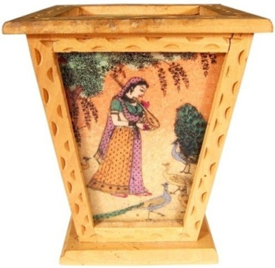 Bajya Conical 1 Compartments Wooden Pen Stand