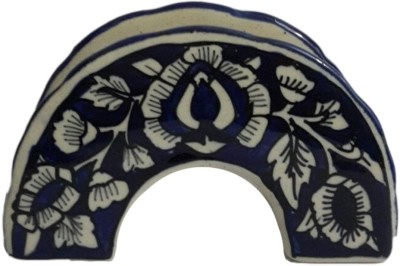 Indeasia Srijan Mughal Design 1 Compartments Stoneware Napkin Holder(Blue)