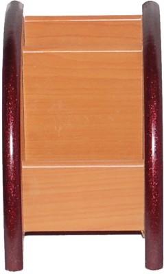 Woodino Handicrafts Mobile Holder Wood3 3 Compartments Wooden Desk Organizer