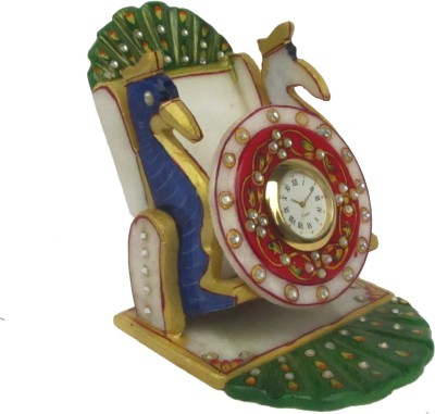 eCraftIndia Dancing Peacock 1 Compartments Makrana Marble Mobile Holder