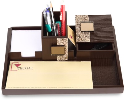 Cocktail Classy 3 Compartments Wood Stationary Holder