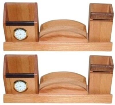 Onlineshoppee 6 Compartments Wood Mobile & Pen Holder