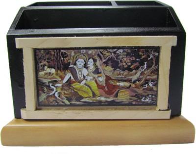 S C Handicrafts Singiri 3 Compartments Wooden Pen Stand