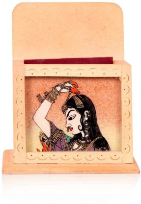 Rajwada Arts Rajasthani 1 Compartments Wooden Visiting Card Holder and Mobile Stand