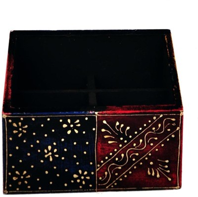 Craftghar Hand Painted 4 Compartments Wooden Pen Stand