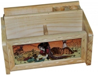 Bajya 3 Compartments Wooden Pen Stand