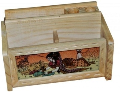 Ruchiworld 3 Compartments Wooden Pen Stand