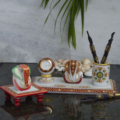 eCraftIndia Papier-Mache Embossed 1 Compartments Makrana Marble Pen Stand