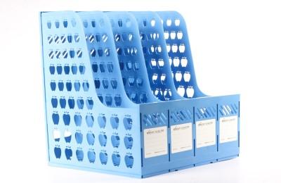 Chrome Mag Rack 1641 4 Compartments Plastic Document Holder
