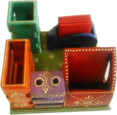 Marwar Craft 5 Compartments Wooden Desk Organizer