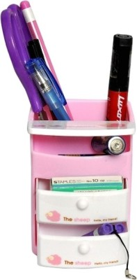 Homeshopeez One 4 Compartments Plastic Pen Stand
