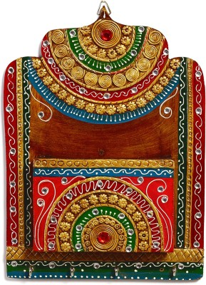 Aapno Rajasthan Teracotta 1 Compartments Wood and Clay Letter Holder