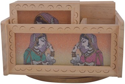 JaipurCrafts Bani Thani 4 Compartments Wooden Pen Holder