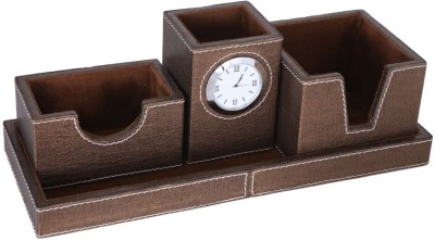 Rexart 4 Compartments MDF, Leatherite, Ultra Suit Leather Desk Organiser