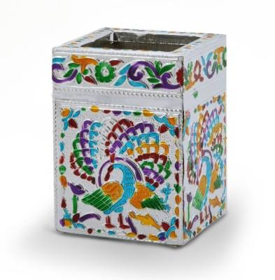 Jaipur Raga 1 Compartments White Metal Pen Stand
