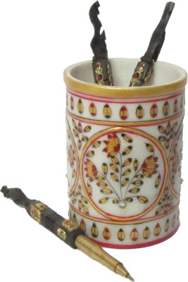 eCraftIndia Floral 1 Compartments Makrana Marble Pen Stand