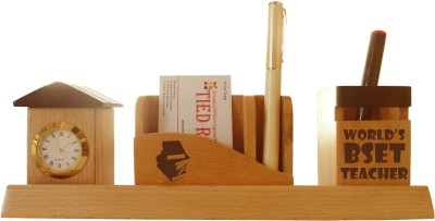 Tiedribbons Tabletop-128 1 Compartments Wooden Desk Sets