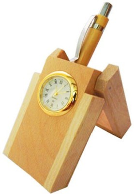 Sasta 1 Compartments wooden pen holder with clock