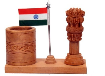 Sunvi Ashoka Piller And Tiranga 1 Compartments Wooden Pen Stand