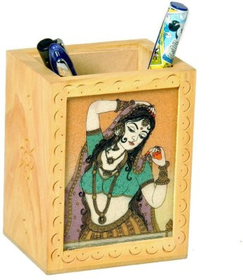 shoppingtara Gemstone Painted Handcrafted 1 Compartments Wooden Pen Stand