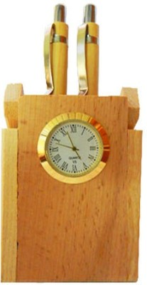 Sasta 2 Compartments wooden pen holder with 2 pens and clock